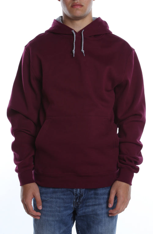 Collegiate Contrast Hoodie Maroon/Heather Grey - COTTONHOOD