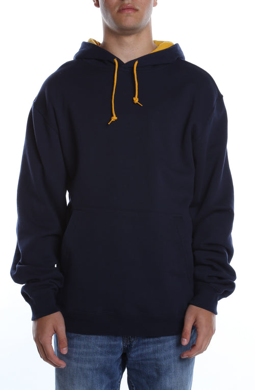Collegiate Contrast Hoodie Deep Navy/Gold - COTTONHOOD