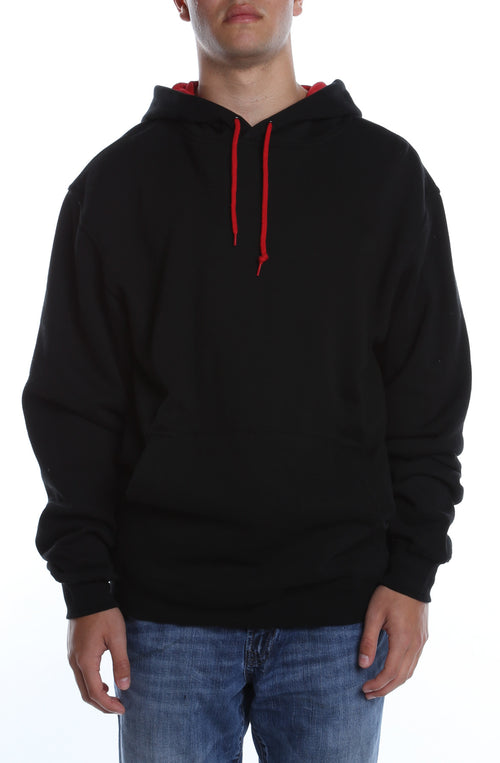 Collegiate Contrast Hoodie Black/Scarlet - COTTONHOOD