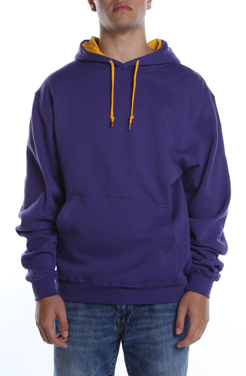 Collegiate Contrast Hoodie Purple/Gold - COTTONHOOD