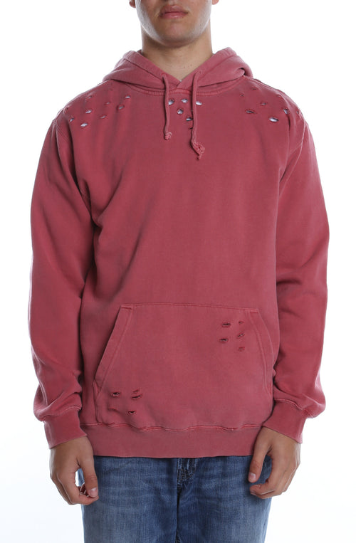 Pigment Dyed Distressed Hoodie Red - COTTONHOOD