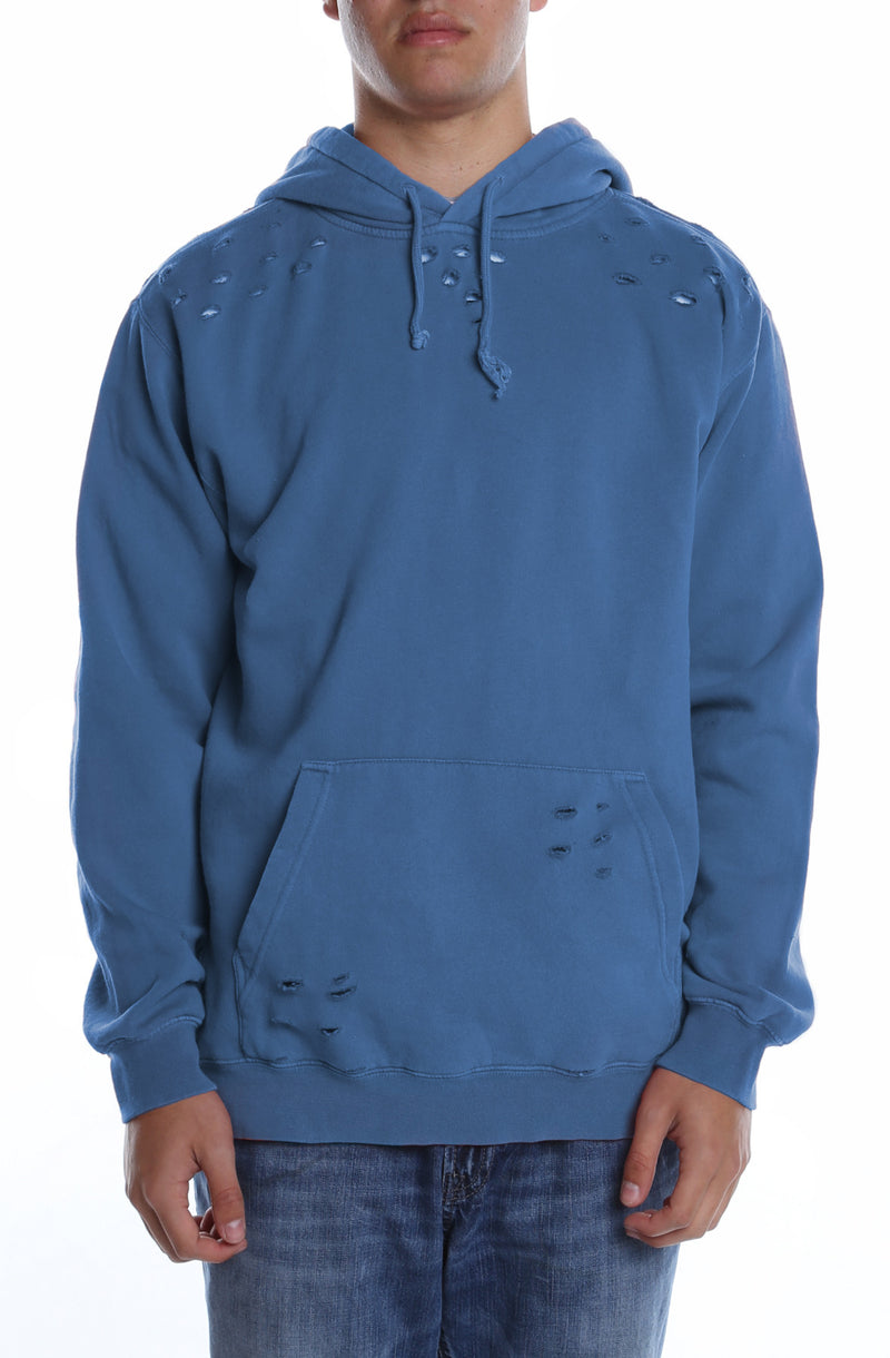 Men's Pigment Dyed Distressed Hoodie Blue