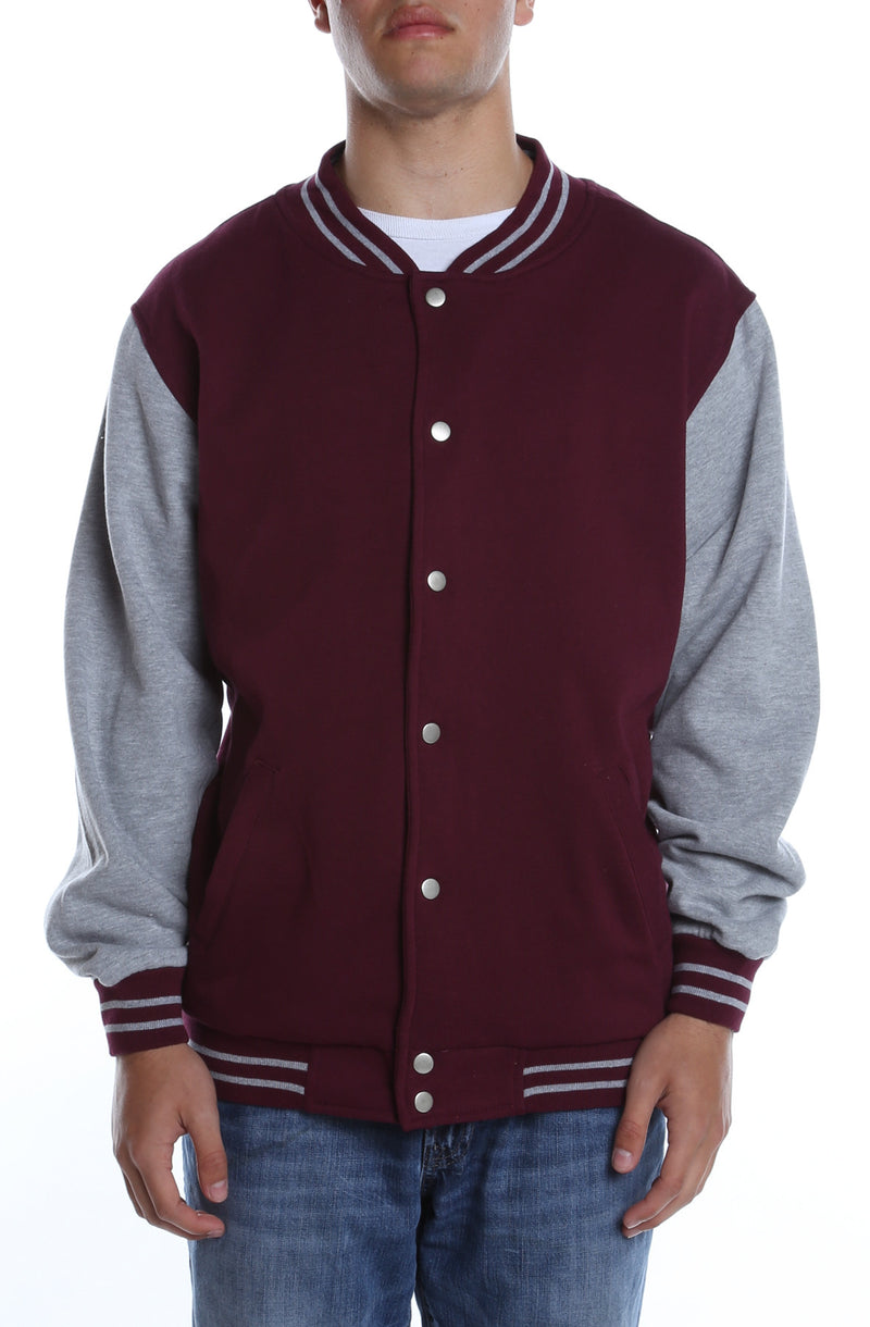 Varsity Fleece Jacket Maroon/Heather Grey