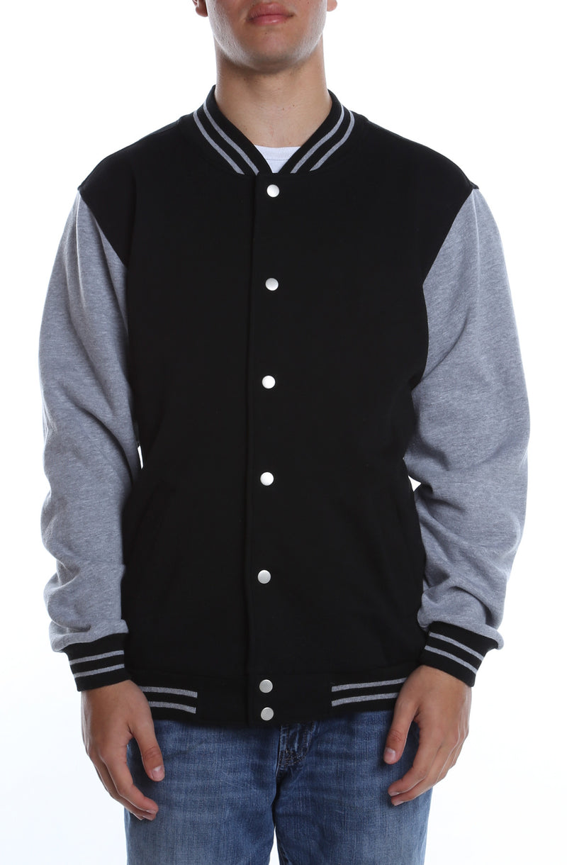 Varsity Fleece Jacket Black/Heather Grey - COTTONHOOD