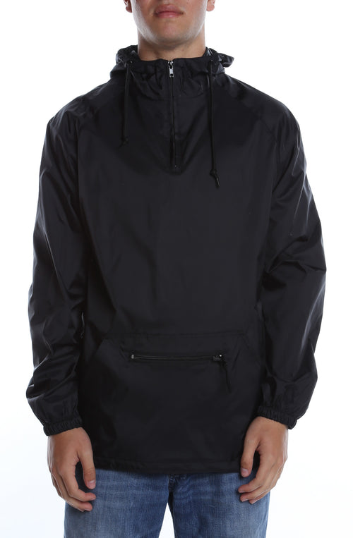 Packable Anorak Pullover Nylon Shell Black - COTTONHOOD