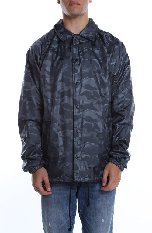 3D Camo Nylon Coaches Jacket Charcoal