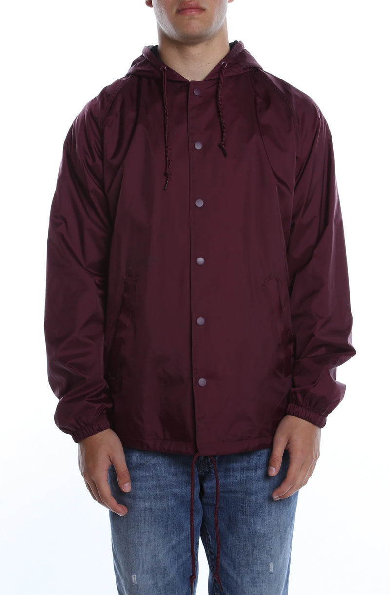Coaches Jacket w/ Nylon Hoodie Maroon - COTTONHOOD