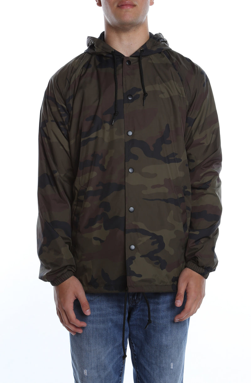 Coaches Jacket w/ Nylon Hoodie Camo - COTTONHOOD