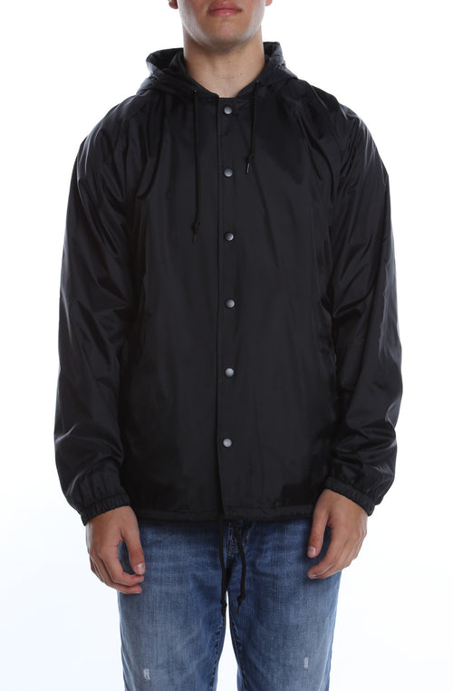 Coaches Jacket w/ Nylon Hoodie Black - COTTONHOOD