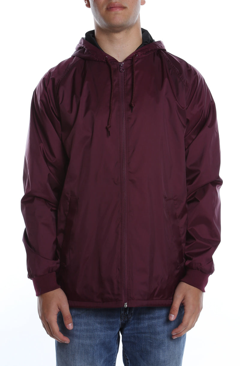 Coaches Hooded Full Zip Jacket Maroon - COTTONHOOD