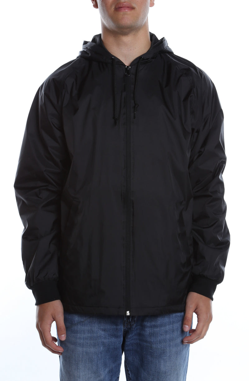 Coaches Hooded Full Zip Jacket Black - COTTONHOOD
