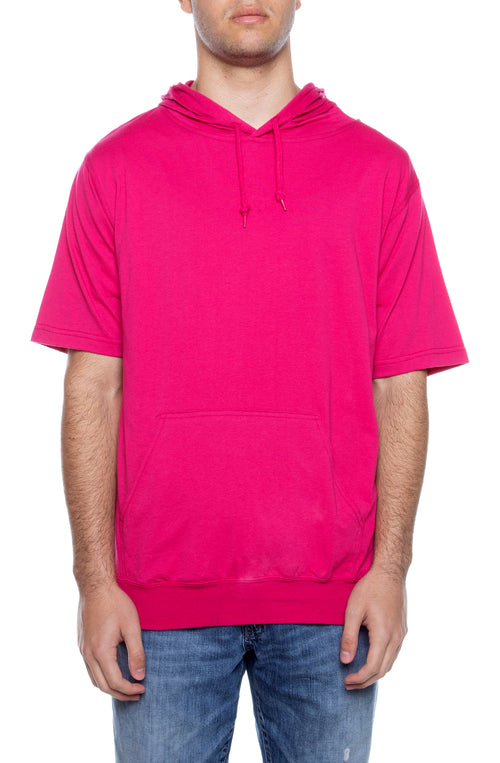 Men's S/S Beach Jersey Hoodie Fuchsia - COTTONHOOD