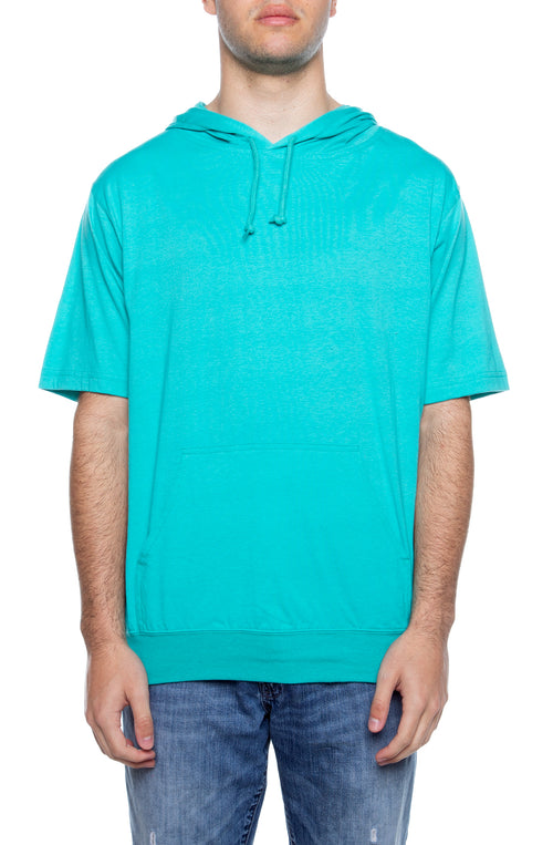 Men's S/S Beach Jersey Hoodie Teal - COTTONHOOD