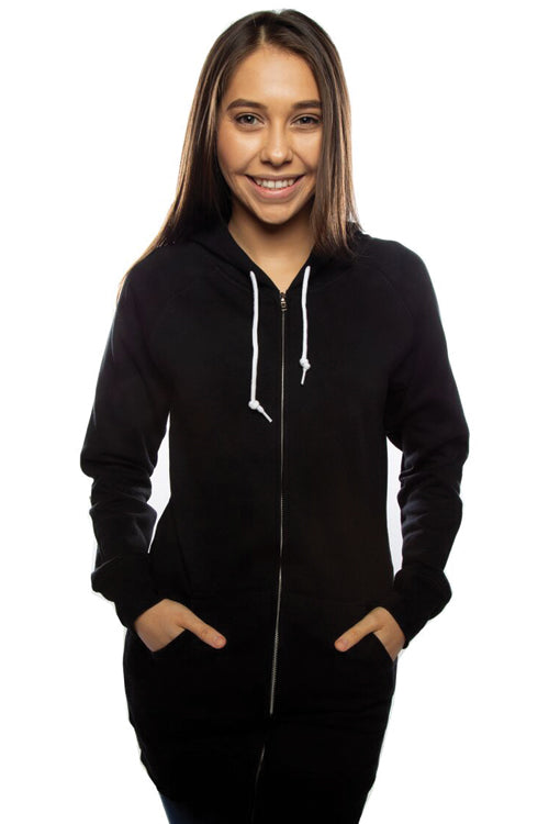 Misses Zip Dress Hoodie Black - COTTONHOOD