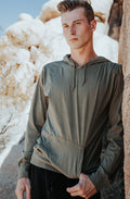 Beach Jersey Hoodie Pigment Dyed Olive - COTTONHOOD
