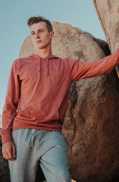 Beach Jersey Hoodie Pigment Dyed Red