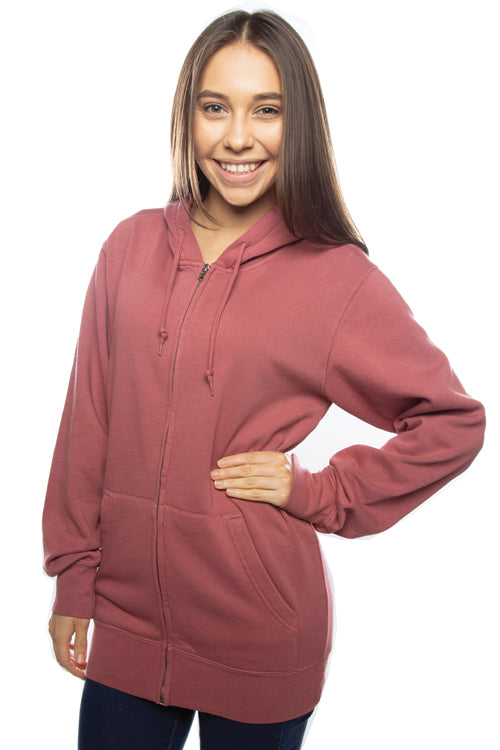 Pigment Dyed Zip Hoodie Red (Unisex) - COTTONHOOD