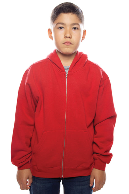 Youth Zip Hoodie Red - COTTONHOOD