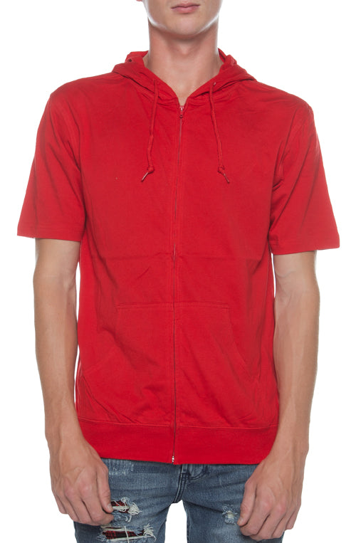 Men's S/S Zip Beach Jersey Hoodie Scarlet - COTTONHOOD