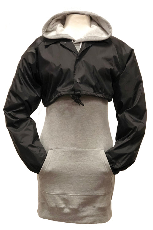 Women's Cropped Coaches Jacket Black - COTTONHOOD