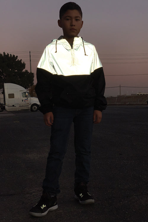 Youth Two-Tone Reflective Anorak Silver/Black - COTTONHOOD