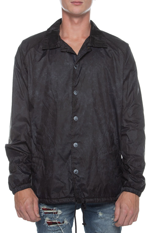 Coaches Jacket Oil Washed Black - COTTONHOOD