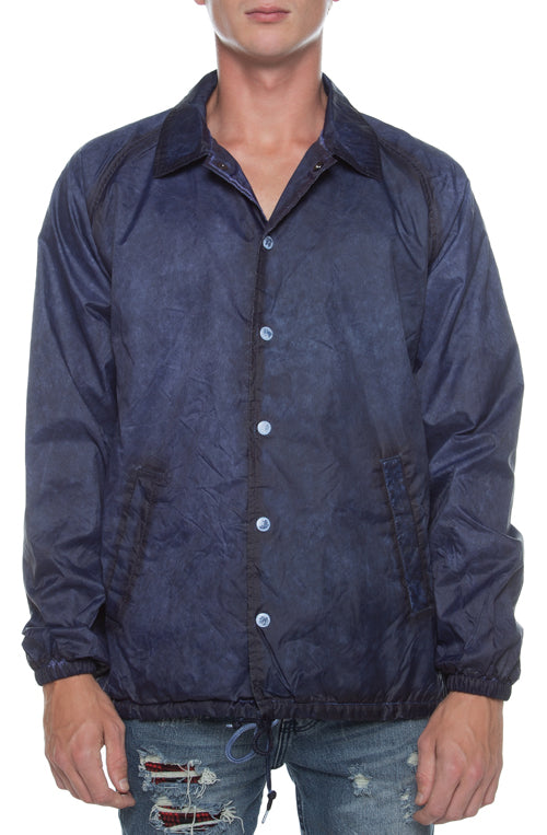 Coaches Jacket Oil Washed Navy - COTTONHOOD