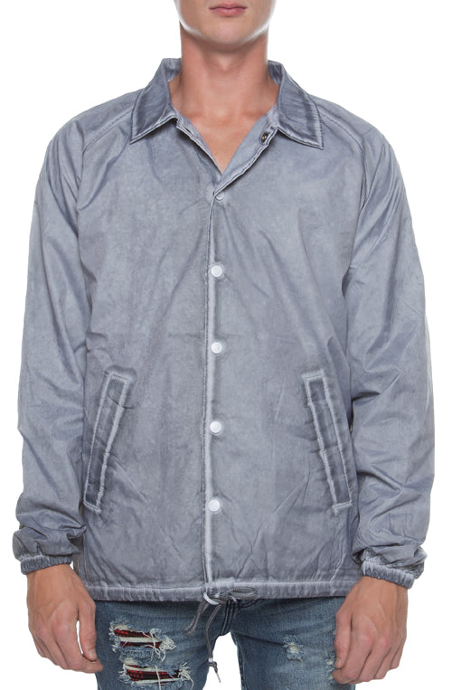 Coaches Jacket Oil Washed Grey - COTTONHOOD
