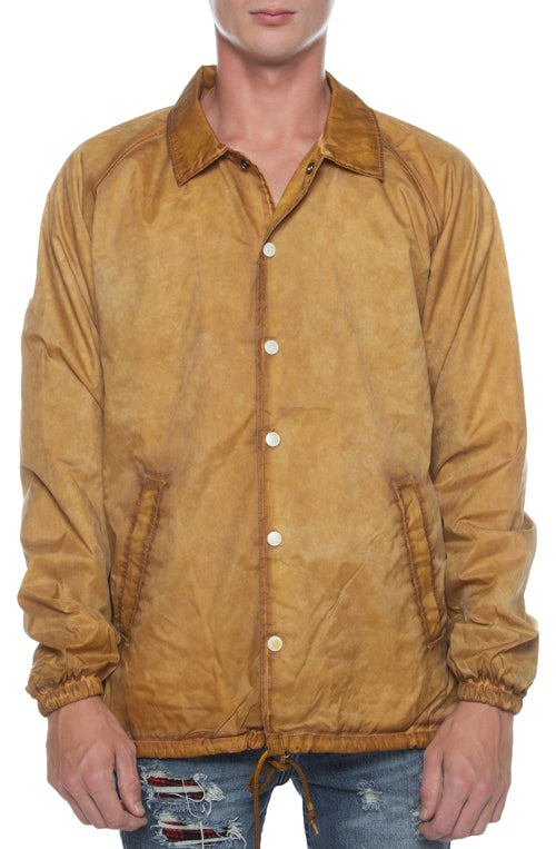 Coaches Jacket Oil Washed Yellow - COTTONHOOD