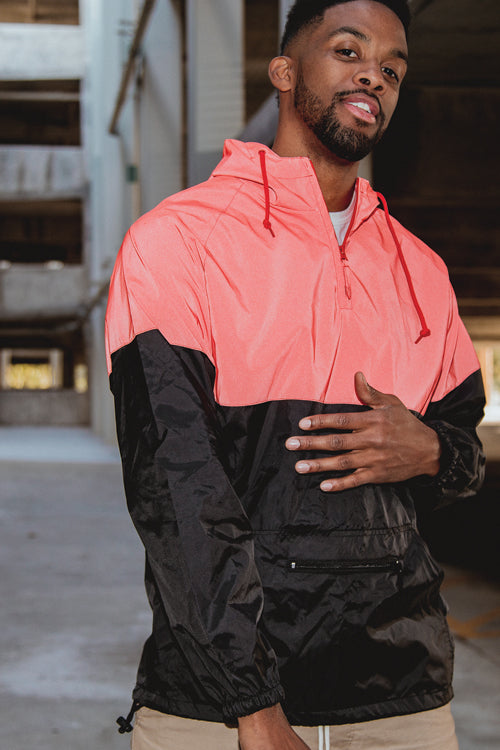 Two-Tone Reflective Anorak Red/Black - COTTONHOOD