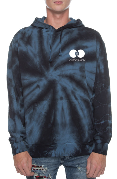 Spiral Tie Dyed Black/Charcoal Hoodie - COTTONHOOD