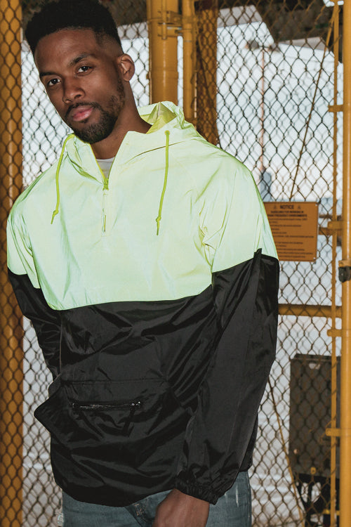 Two-Tone Reflective Anorak Yellow/Black - COTTONHOOD