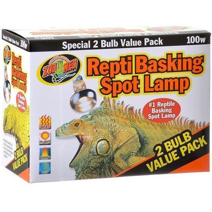 Zoo Med Repti Basking Spot Lamp with UVA Lighting Incandescent Zoo Med 100 Watts (2 Pack)