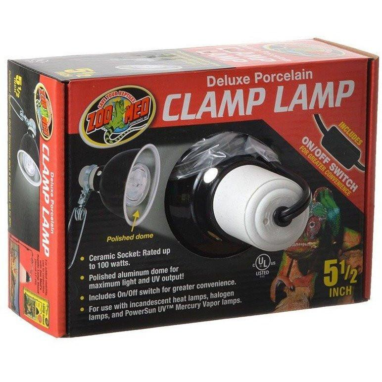 Zoo Med Delux Porcelain Clamp Lamp - Black Reflectors & Domes Zoo Med