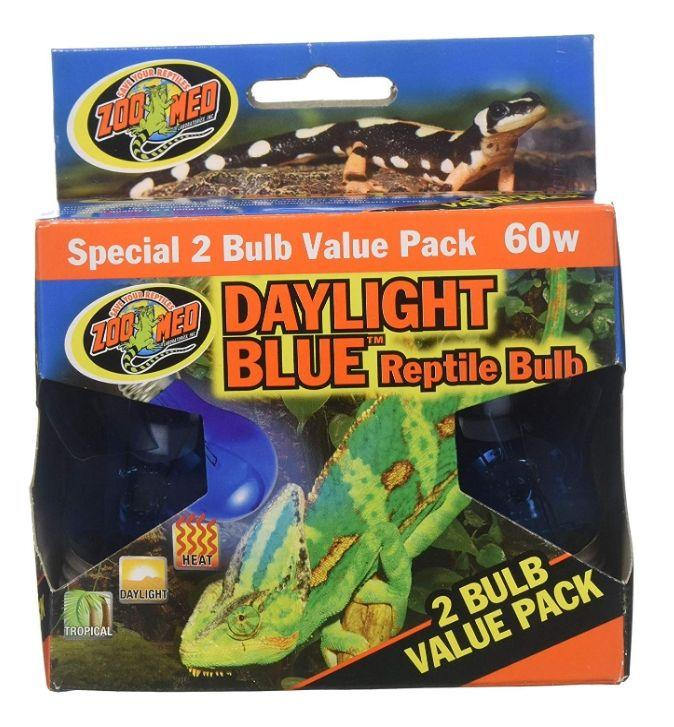 Zoo Med Daylight Blue Reptile Bulb Lighting Incandescent Zoo Med 2 count (60 Watts)