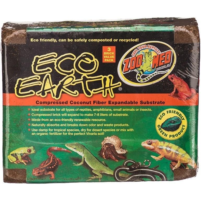 Zoo Med Eco Earth Compressed Coconut Fiber Expandable Substrate Bedding Zoo Med 3 Pack (Makes 21-24 Liters)