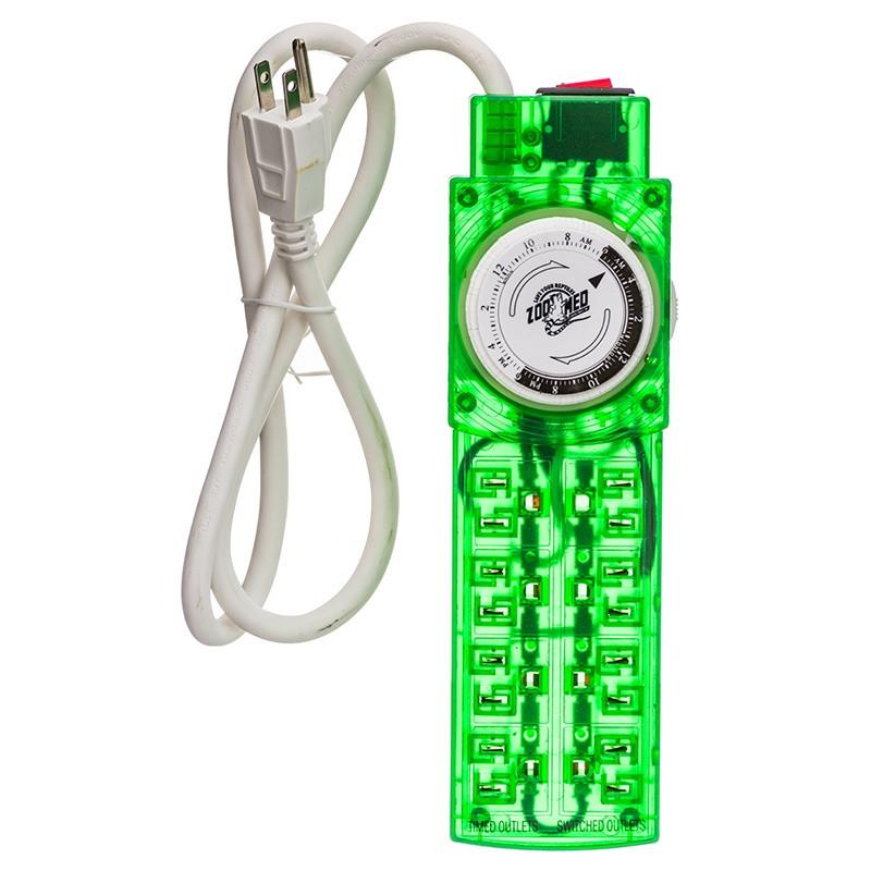 Zoo Med ReptiCare Terrarium Controller with Power Strip 8 Outlet Powerstrip with 24 Hour Timer