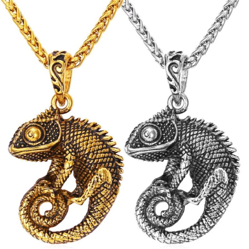 Cute Chameleon Necklace - Silver Color or Gold Color - FREE Shipping! Necklace Reptiles Lounge