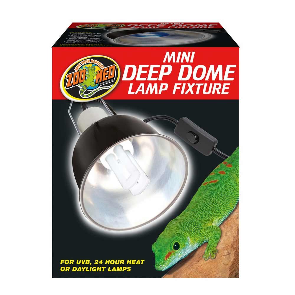Zoo Med Mini Deep Dome Lamp Fixture - Black Reflectors & Domes Zoo Med