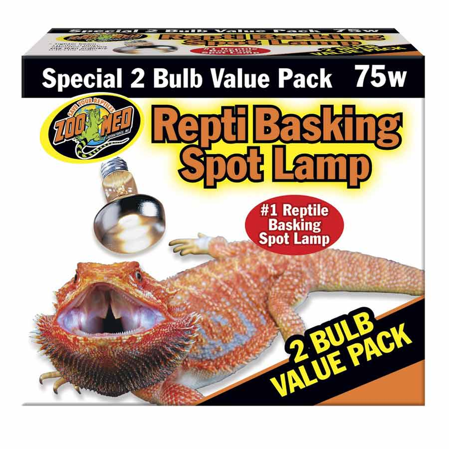 Zoo Med Repti Basking Spot Lamp with UVA Lighting Incandescent Zoo Med 75 Watts 2 Pack