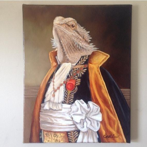 Mr. Spike Bearded Dragon Portrait on Canvas