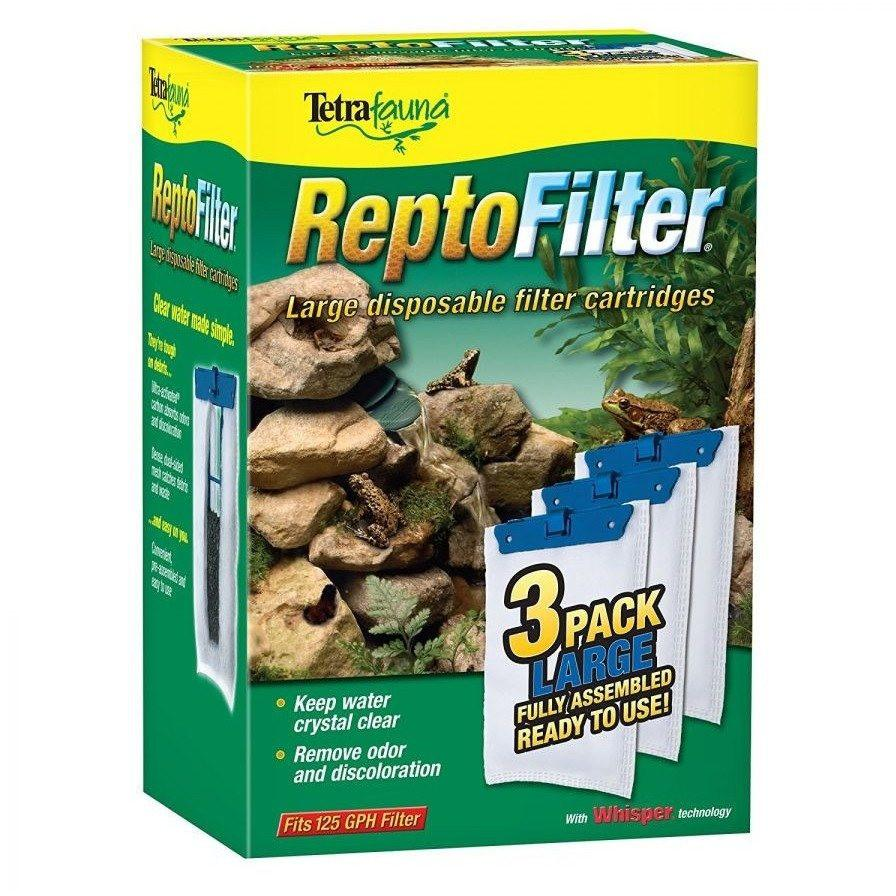 Tetrafauna ReptoFilter Disposable Filter Cartridges Medium - For 90 GPH/10i Filter, Decorative ReptoFilter & Viquarium (3 Pack)