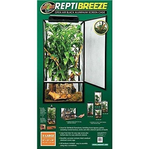 "Zoo Med Reptibreeze Open Air Aluminum Screen Cage - Black Cages & Pens Zoo Med X-Large (24""L x 24""W x 48""H)"