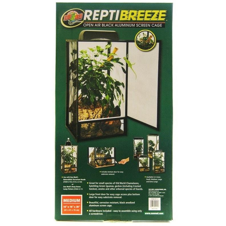 "Zoo Med Reptibreeze Open Air Aluminum Screen Cage - Black Cages & Pens Zoo Med Medium (16""L x 16""W x 30""H)"