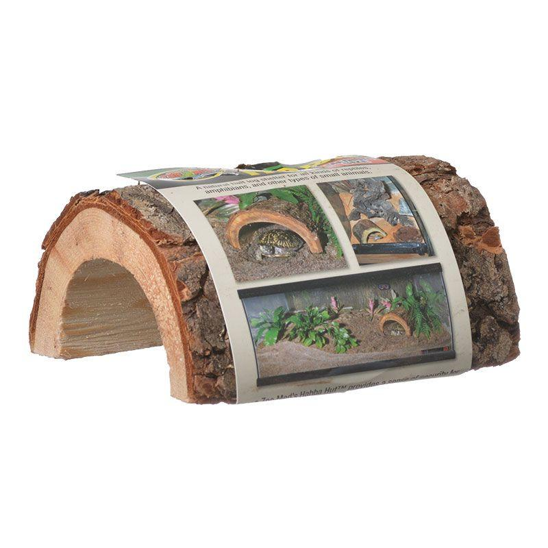"Zoo Med Habba Hut Natural Half Log with Bark Shelter Hiding Places Zoo Med Small (3.5""L x 4.5""W x 2.5""H)"