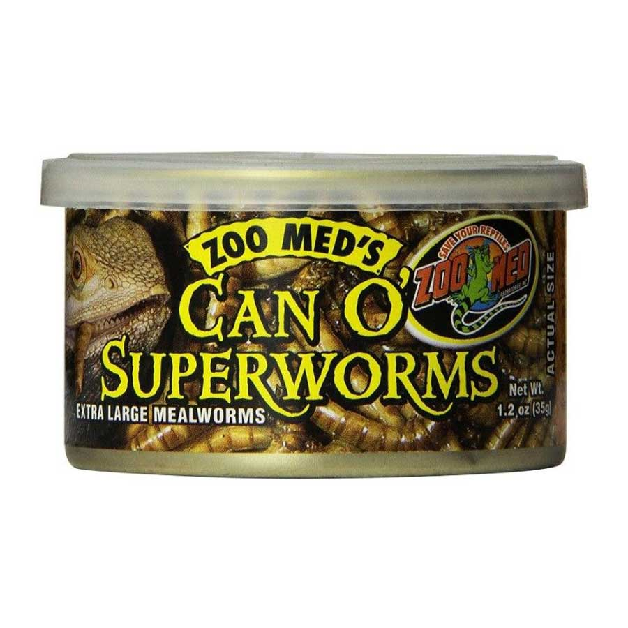 Zoo Med Can O' Superworms Extra Large Mealworms Foods Canned Zoo Med