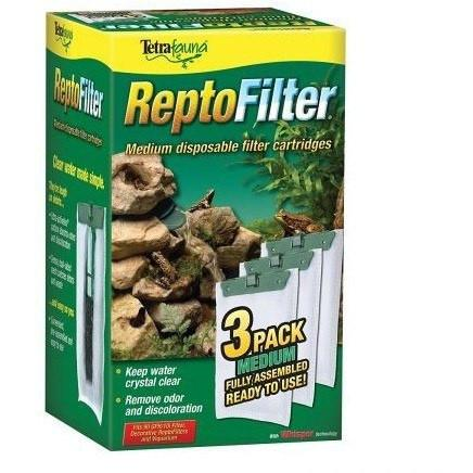 Tetrafauna ReptoFilter Disposable Filter Cartridges Cleaners Tetrafauna Medium - For 90 GPH/10i Filter, Decorative ReptoFilter & Viquarium (3 Pack)