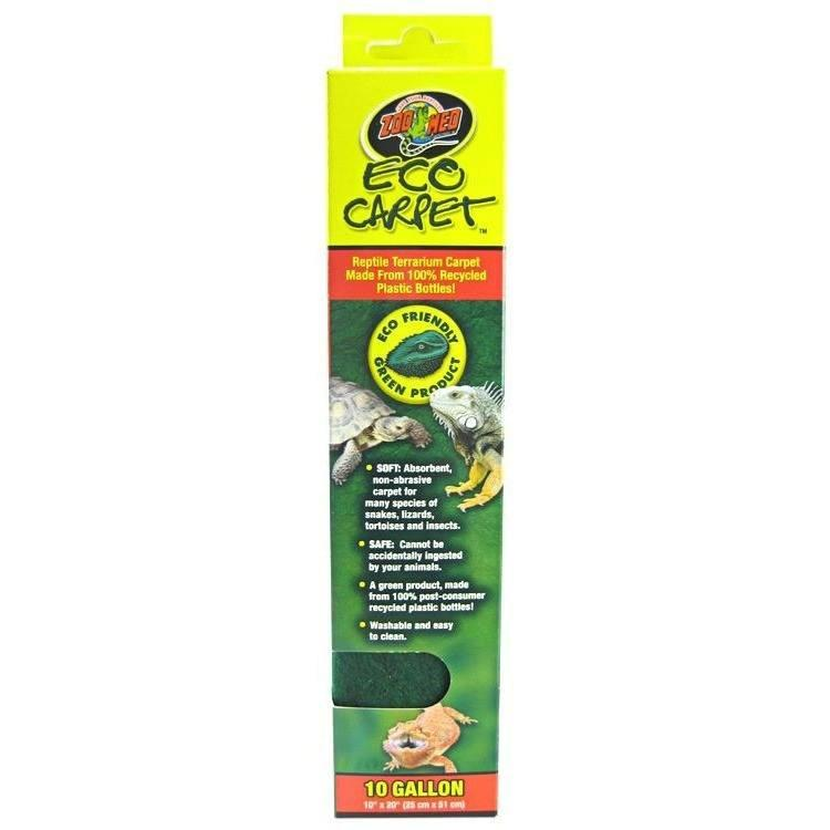 "Zoo Med Eco Carpet - Green or Tan Reptile Carpet Cage Carpets Zoo Med 10 Gallon Tanks (10"" x 20"") - Green"
