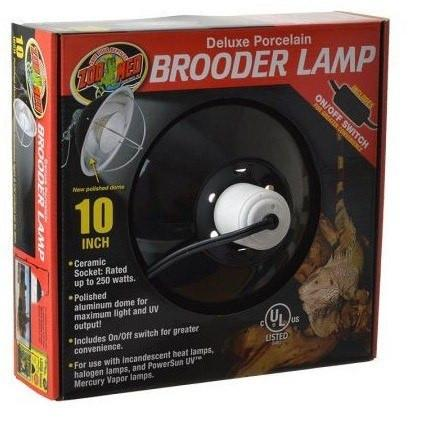 Zoo Med Delux Porcelain Brooder Lamp - Black Reflectors & Domes Zoo Med