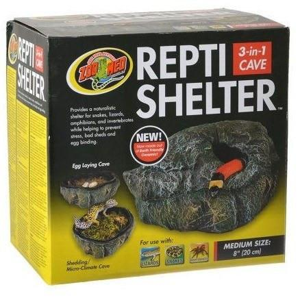 "Zoo Med Repti Shelter 3 in 1 Cave Hiding Places Zoo Med Medium - 8"" Diameter"